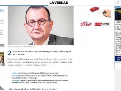 Entrevista en el diario La Verdad, con motivo de las elecciones del Colegio de Abogados de Cartagena.